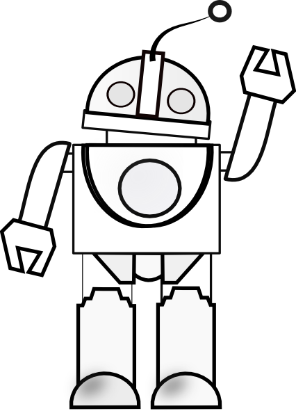 Line Art Robot : Robot waving clip art at clker vector