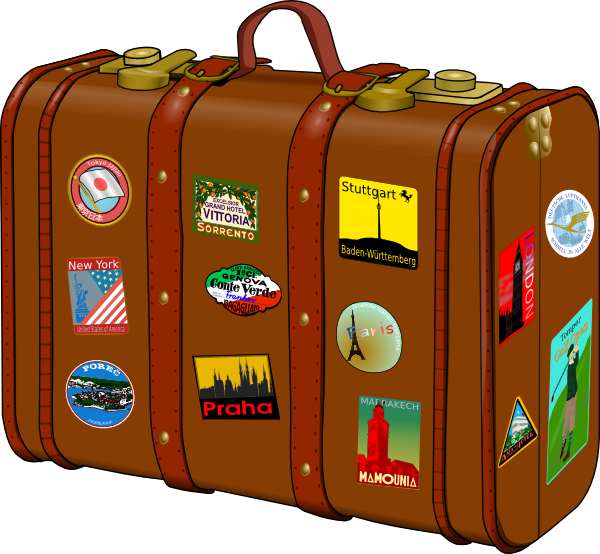 Suitcase With Stickers Clip Art At Vector Clip