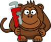 Cartoon Monkey With Wrench Clip Art