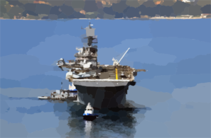 Uss Iwo Jima (lhd 7) Is Assisted By Tugs As She Arrives For A Port Visit At The Port Of Souda Bay. Clip Art