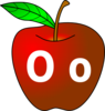 Apple With O O Clip Art