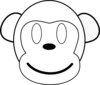 Monkey Outline Happy Clip Art