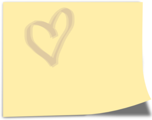 Yellow Note With Heart Clip Art