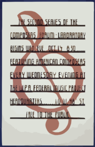 The Second Series Of The Composers  Forum Laboratory Begins Wed. Eve., Oct 14, 8:30 : Featuring American Composers Every Wednesday Evening At The W.p.a. Federal Music Project Headquarters. Clip Art