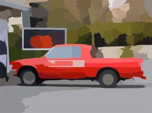 Old Red Nissan Pickup Truck At Gas Station Vector Clip Art