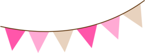 Angled Pink Brown Bunting Clip Art
