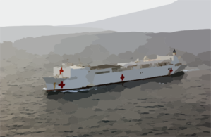 The Hospital Ship Usns Comfort (t-ah 20) Steams Through The Waters While Deployed  To The Arabian Gulf. Clip Art