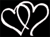 Hearts White On Black Clip Art