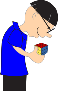 Man Holding Rubric Cube Toy Clip Art