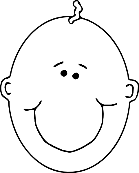 Line Drawing Baby Face : Baby face outline clip art at clker vector
