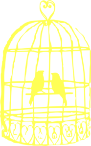 Small Baby Yellow Love Birds In Birdcage Clip Art