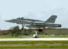 An F/a-18  Hornet  From The  Royal Maces  Of Strike Fighter Squadron Two Seven (vfa 27), Launches From An Airstrip Located At Andersen Afb In Guam Clip Art
