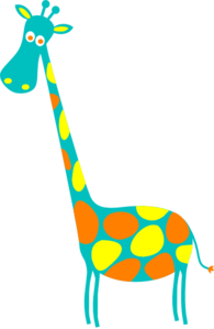 Giraffe Teal With Yellow And Orange Dots Clip Art