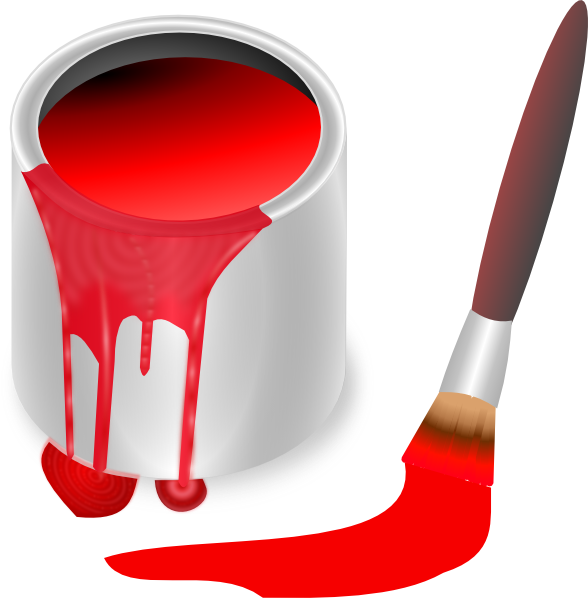 Red Paint red paint brush and can clip art at clker - vector clip art
