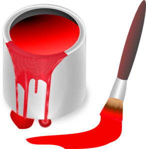Red Paint Brush And Can Clip Art
