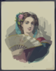 Lady Holding Fan Clip Art