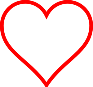 White Heart W/ Red Outline Clip Art