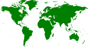 World Map In Green Clip Art