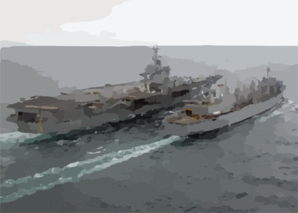 The Fast Combat Support Ship, Uss Detroit (aoe-4) Steams Alongside Uss Enterprise (cvn 65) While Conducting An Early Morning Replenishment At Sea (ras) Clip Art