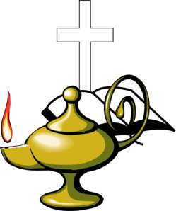 Lamp With Bible And Cross Clip Art