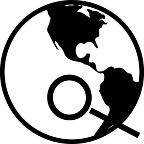 Simple Black And White Earth With Magnifying Glass Clip Art