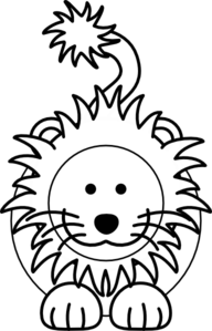 Cartoon Lion Bw Clip Art