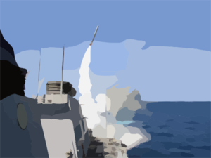 The Guided Missile Destroyer Uss Porter (ddg 78) Launches A Tomahawk Land Attack Missile (tlam) Toward Iraq During The Initial Stages Of Shock And Awe Clip Art