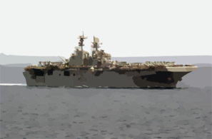 The Amphibious Assault Ship Uss Iwo Jima (lhd 7) Cruises Alongside Uss Nimitz (cvn 68) Clip Art