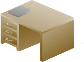 Isometric Desk Right Front With Book Clip Art