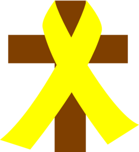 Cross W/yellow Ribbon Clip Art