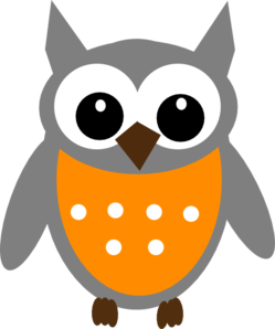 Dark Gray Orange Owl Clip Art