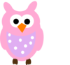 Pink Owl And Dots Clip Art