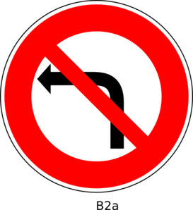 No Left Turn Sign Clip Art