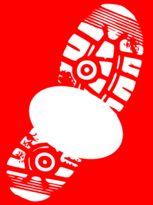 Red & White Sneaker Print Sign-off Clip Art