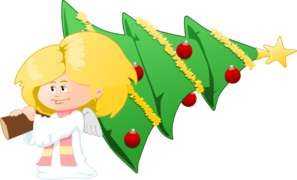 Angel With Christmas Tree Clip Art