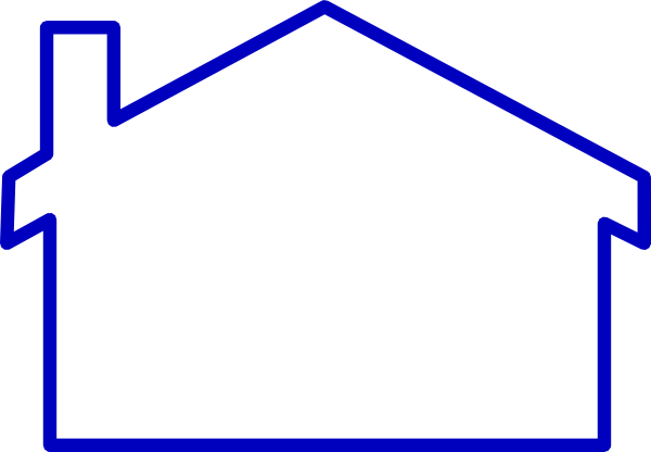 Line Art Images Of Houses : Thick blue line house clip art at clker vector