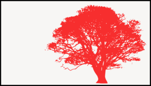 Tree, Red Silhouette, White Background Clip Art