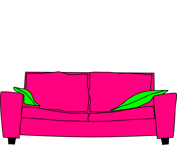 Pink Couch With Pillow Clip Art At Clker Com Vector Clip