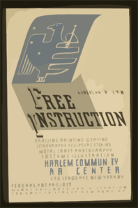 Hundreds Are Receiving Free Instruction Drawing, Painting, Weaving, Lithography, Sculpture, Etching, Metal Craft, Photography, Costume Illustration [at] Harlem Community Art Center. Clip Art