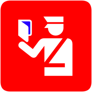 Immigration Police In Red Background Blue 3 Visa Clip Art