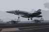 An F/a 18  Hornet  Assigned To The  Ragin Bulls  Of Strike Fighter Squadron Three Seven (vfa-37), Performs A  Touch And Go  On The Ship S Flight Deck. Clip Art