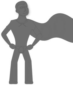 Grey Super Hero Clip Art