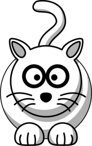 Cartoon White Cat (bigger Image) Clip Art