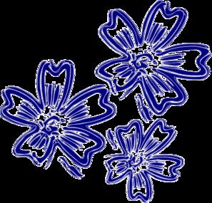 Navy Blue Flowers Clip Art