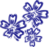 Navy Blue Flowers Clip Art