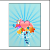 Hearts With Blue Rays Clip Art