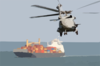 An Sh-60f Seahawk  Heads Off Toward A Group Three Merchant Vessel Surface Clip Art