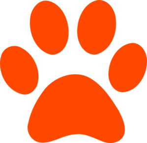 Dark Orange Pawprint Clip Art