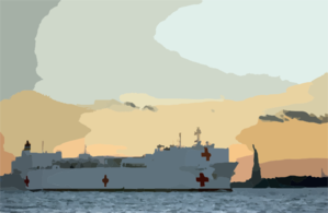 U.s. Navy Hospital Ship Usns Comfort (t-ah 20) Passes The Statue Of Liberty Enroute To Manhattan. Clip Art