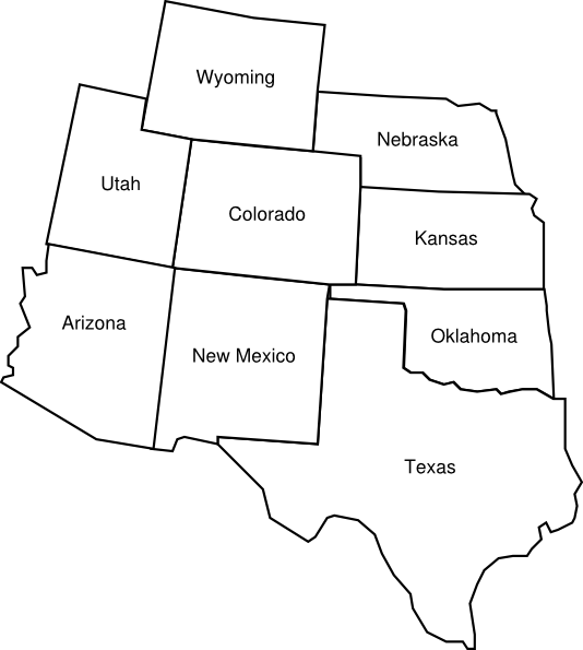 Colorado Map With Surrounding States With Labels Clip Art At Clker